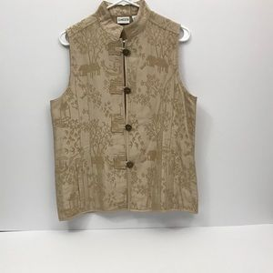 Chico's Gold Embroidered Silk Blend Pattern Vest